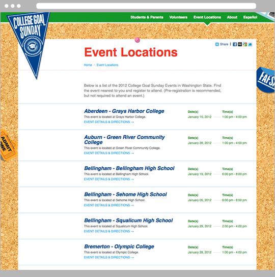 Website event locations