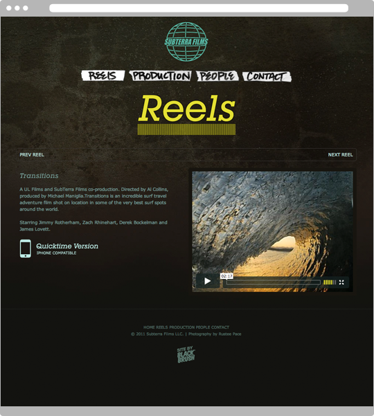 Website individual reel page